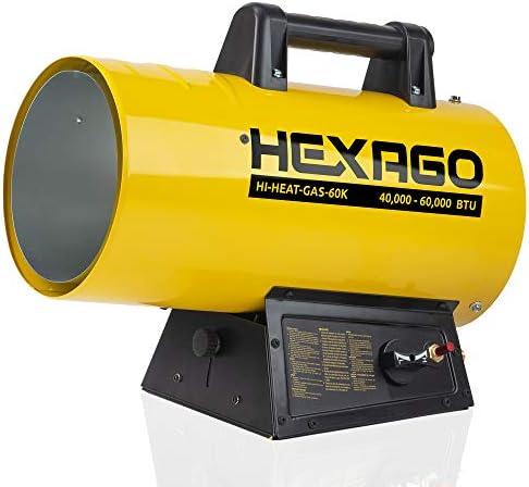 HEXAGO 60 000 BTU Adjustable Portable Liquid Propane Gas Forced Air Heater Height Adjustable product image