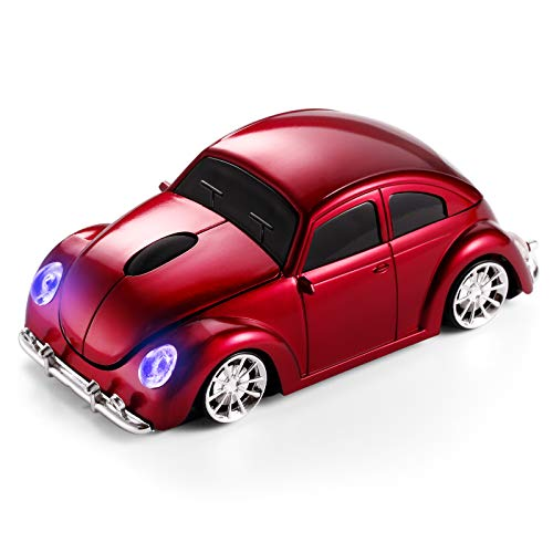 BKLNOG Classic Car Shaped Mouse [Updated] with LED Headlights, 1600 DPI, 2.4Ghz Wireless Computer Mouse, Comfortable for Every Use, Red
