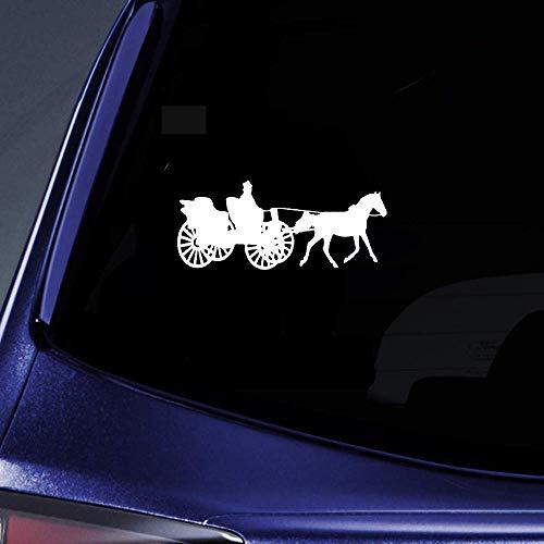 DKISEE Cool Schaduw Van Oude Vervoer Met Groot Wiel Paard Mooie Auto Decal, Vinyl Motorfiets Truck Auto Bumper Sticker Raam Spiegel Muursticker Laptop Decal, 6 Inch
