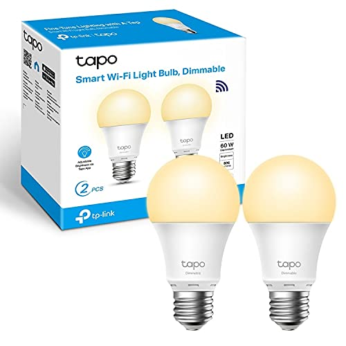 TP-Link TAPO L510E (2-Pack) - Bombilla LED Inteligente, Bombilla WiFi sin necesidad de Hub, Blanco Cálido,Regulable,E27, 8.7 W 806lm, Compatible Alexa, Echo y Google Home