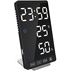 ZUSERIS Digital Alarm Clock,Large LED Display Electronic Clocks with USB Ports and Temperature Detect Modern Mirror Desk Wall Clock for Bedroom Bedside Home Office…