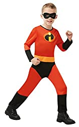 Rubie's Official Disney Incredibles 2 Childs Costume, Unisex Jumpsuit, Disney Pixar Unisex printed jumpsuit with eye mask Costume available in child's sizes S 3-4, M 5-6, L and-8 Rubie's product tested to all required European and UK standards, inclu...