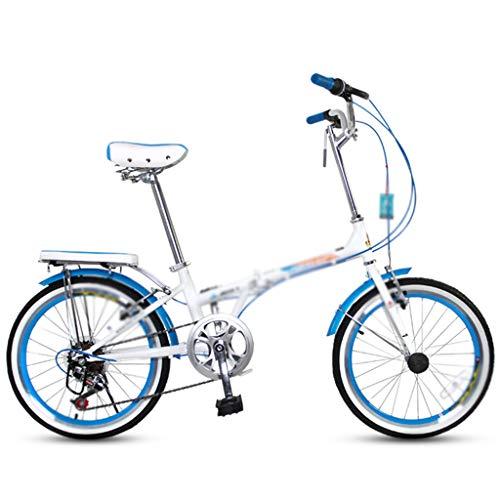 Bicicletas Plegable Estudiante pequeña Ultraligera portátil 20 Pulgadas, Cambio de 7 velocidades (Color : Blue, Size : 20inches)