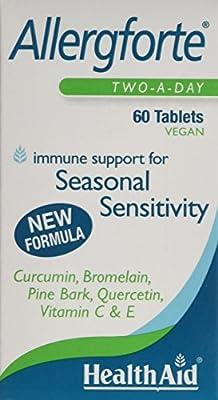 HealthAid Allergforte - Quercetin, Pine Bark, Curcumin - 60 Vegan Tablets
