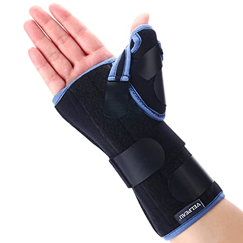 VELPEAU Wrist Brace with Thumb Spica Splint for De Quervain's Tenosynovitis, Carpal Tunnel Pain, Stabilizer for Tendonitis, Arthritis, Sprains & Fracture Forearm Support Cast (Regular, Right Hand-M)