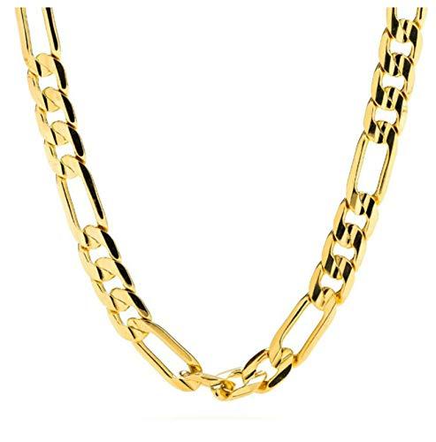 Collar de cadena fígaro de oro de 24 ct, 7mm, corte diamante