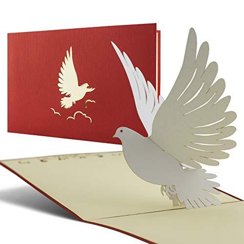 Tarjeta tridimensional para bautizo, confirmación, comunión, felicitación de bautizo, para niños o niñas, con paloma, C04
