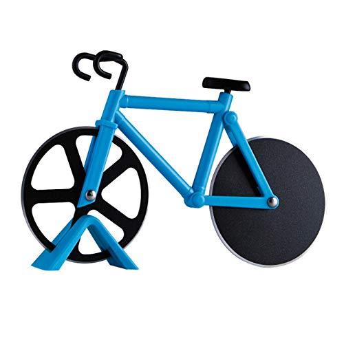 HUICHENG Kreativer Fahrrad-Pizzaschneider Pizzaschneider aus lebensmittelechtem Edelstahl Antihaft-Doppelrad-Pizzaschneider in Fahrradform mit Messerhalter Praktische Backwerkzeuge (Blau)