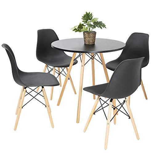 Bravich Mid-Cetury Retro Modern Style 80CM Round Dining Table And 4 Chair Set| 5PC Dining Set | Natural Wooden Legs |Black Table and Chair Set