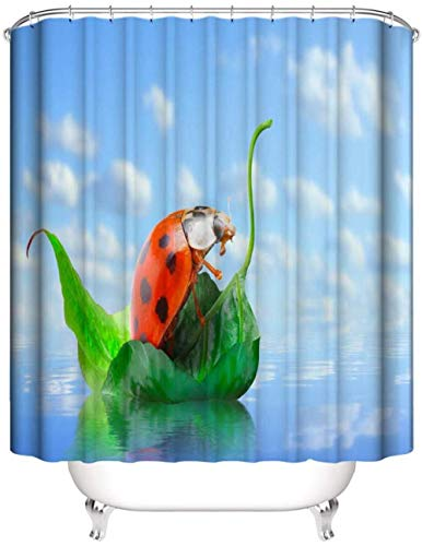 HNMFT Badezimmer Duschvorhang ,Anti-Schimmel, Wasserdichter, Beschwertem Saum,Polyester,Mit 12 Duschvorhangringen, Interessanter Marienkäfer