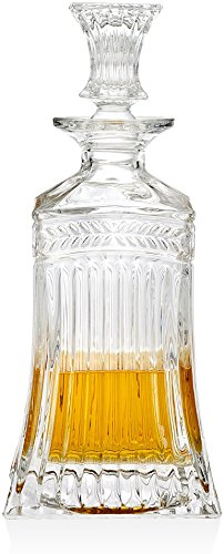 Circleware Elegant Liquor Scotch Brandy Bourbon Wine Whiskey Best Gift Drink Beverage Dispenser Pitcher Carafe with Glass Stopper, 709ml. Clear, Empire Decanter