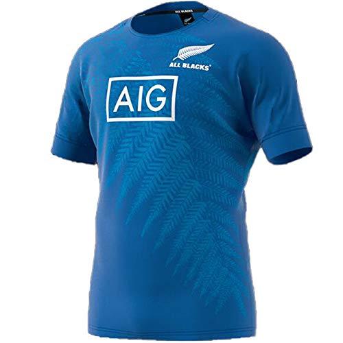 Rugby Trikot 2019 Japan Rugby World Cup Neuseeland All Black Team Herren Fußball Trikot Sport Polo Shirt Kurzarm Top Mesh Schnell Trocknende Polyesterfaser Gr. XL, blau