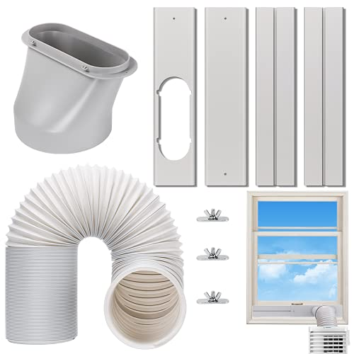 Kxuhivc Portable Air Conditioner Windows Vent Kit, Adjustable Window Seal with 5.9 Inch Diameter, 78.7 Inch Length Exhaust Hose for A/C Unit Universal for Sliding Horizontal or Vertical Windows