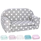 DELSIT Toddler Couch & Kids Sofa - European Made Children's 2 in 1 Flip Open Foam Double Sofa - Kids Folding Sofa, Kids Couch - Comfy fold Out Lounge (Gray with Stars)