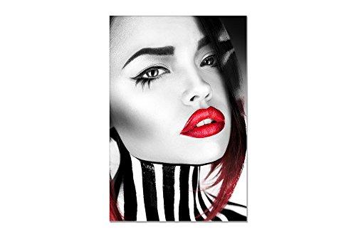 deinebilder24 - Leinwand-Bilder modern - 60 x 40 cm - Sinnliche Frau, Portrait mit roten vollen Lippen