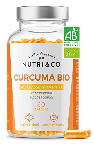 Prima Curcuma Bio Potenziata | Curcumina Alto Assorbimento | Biodisponibilità 45x Superiore Al Pepe Nero & Piperina | 60 Capsule Vegetali | Nutri & Co