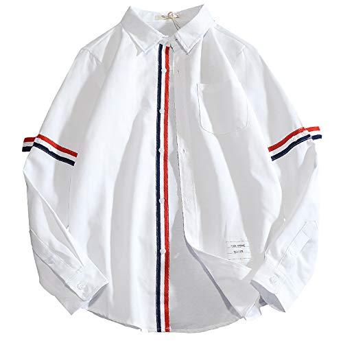 Camisa de Manga Larga para Hombre Camisas Informales de Negocios de Tendencia de Moda a Rayas con Costuras de un Solo Pecho clásico XXL