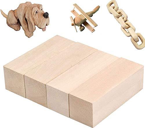 Bloques de tallado de madera de tilo - Kit de tallado / tallado en madera premium para principiantes, 4 piezas con dos de 15 x 5 x 5 cm