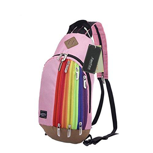 FakeFace Unisex Nylon Rucksack Brusttasche Brustbeutel Regenbogen Stil Kindertasche Schultertasche Umhängetasche Crossbody Bag Tasche für Wandern Reise Trekking Sport Skifahren (Pink)