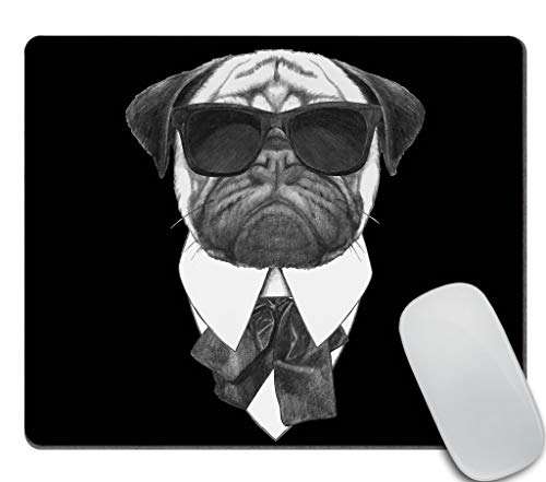Amcove Gaming Mouse Pad Custom, Hand Drawn Cool Pug Dog with Sunglasses Mouse pad 9.5 X 7.9 Inch (240mmX200mmX3mm)