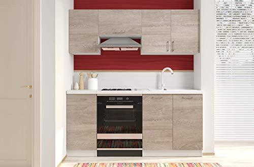 Arreditaly Cucina Componibile Completa di Mobili Pensili Sospesi e Mobili Base Cucinino Moderno in Laminato da 180 Cm da Incasso (Quercia)