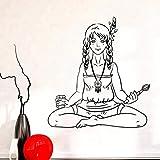 kldfig Calcomanía de pared de vinilo Hippie Teen Girl Artist Peace Love Pegatinas de...