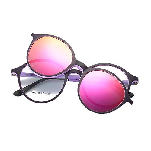 Huachaoxiang Männer Frauen Vintage Dicker Runder Rand Rahmen Brille, Magnetclip Für Brille Optische Brillenrahmen Brille Blocks Harmful Rays Machen Landschaft Klarer Und Weicher,B