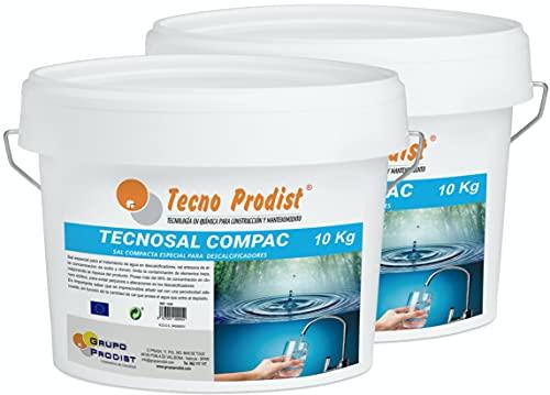 Tecno Prodist TECNOSAL COMPAC- Sal compacta Especial para descalcificadores - Pack 2 Cubos de 10 kg - Fácil aplicación, más Comodidad Más Comodidad