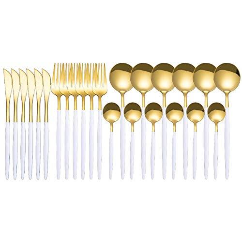 HUIIUH Weiß Gold Silverware Set for 6, Besteck Set 24 Stück Edelstahl Besteck Besteck Set Geschirr Besteck Set für Zuhause und Restaurant Inklusive Messer Gabeln Löffel für Partyhochzeiten