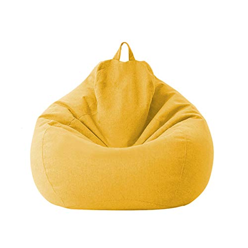 Lazy Sofa Cover Extra Large Bean Bag Chair Cover (No Filler) for kids and Adults, Plus Removable Sofa Case (yellow, 85105cm)