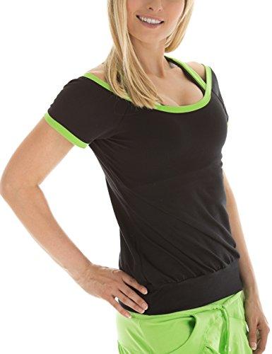 WINSHAPE Damen Cut-Out-Shirt Freizeit Sport Fitness Dance, Schwarz/Apfelgrün, M