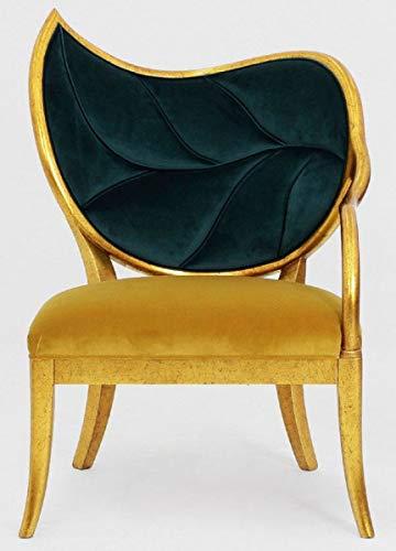 Casa Padrino sillón Art Deco de Lujo Verde Oscuro/Oro/Oro Antiguo - Sillón de Madera Maciza Hecho a Mano con Tela de Terciopelo Fino - Muebles de Sala - Muebles Art Deco