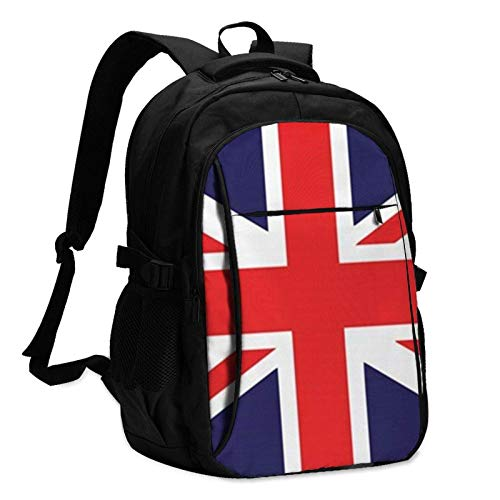 XCNGG Union Jack Unisex Travel Laptop Backpack with USB Charging Port School Anti-Theft Bag