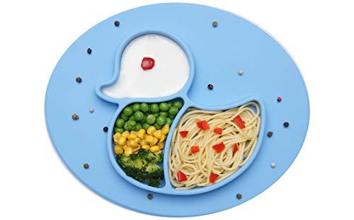 BOBBOLA Kinderteller rutschfest, Baby Teller mit Saugnapf, Platzset Kinder BPA-frei, Kindergeschirr, baby led weaning Teller unterteilt (Ente,Blau)