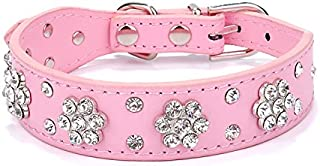 Gimilife Leather Dog Collar, Personalized Dog Cat Collar, Bling Collar, PU Leather Collar Black,Red,Pink and Blue, Male and Female, Five Adjustable Sizes,Small or Medium Dogs