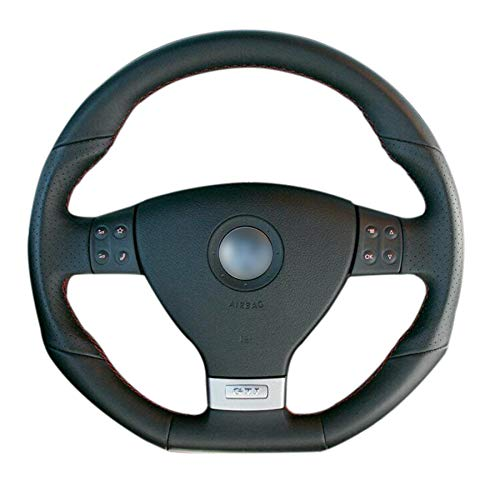 HCDSWSN Schwarze Deckschicht Leder Handgenähtes Auto Lenkradbezug für Volkswagen Golf 5 Mk5 GTIfür VW Golf 5 R32 Passat R GT 2005