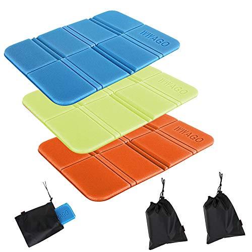 Grneric Tappetino Pieghevole Outdoor, Tappetino per Sedile XPE Impermeabile Portatile da 3 Pezzi per Picnic in Campeggio Esterno (Arancione + Blu + Rosa)