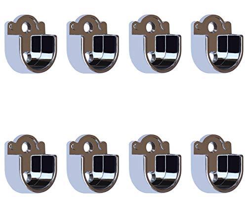 Metall Kleiderstange Schrankrohr Spurstangenkopf Halterung für Kleiderschrank, 40mm x 32mm x 16mm, 8 Stück Flanche für 25mm