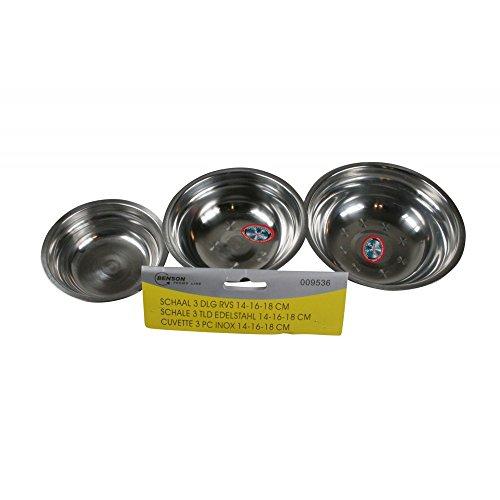 amara-global Set de 3 pièces Bol INOX Bol mélangeur Bol Plateau Coque 14–16–18 cm