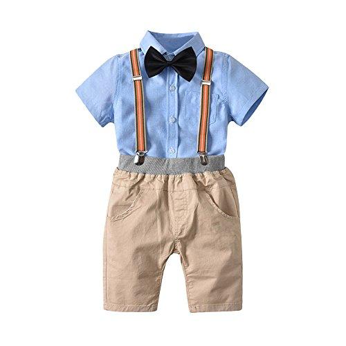 Dtuta Ensembles De B/éB/é /ÉT/é Enfants B/éB/éS Gar/çOns /ÉT/é Gentleman Bowtie Chemise /à Manches Courtes Shorts /à Bretelle pour Enfant Gar/çOn