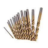 Conjunto de titanio torcedura Broca 13pcs / conjunto de brocas de metal, carburo de Brocas HSS titanio recubierto Fresa espiral Bit Set, for trabajar la madera plástica Broca Conjunto 1.5-6.5mm
