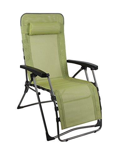 Westfield Lime Punch Gartenliege mit Fussauflage, Gartenstuhl als Relax Hochlehner, Textilene Campingstuhl gepolstert, Liege stufenlos verstellbar, Stuhl klappbar, max 120kg