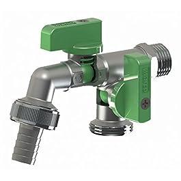 BFG Robinet avec deux soupapes de sortie |Raccordement d'eau 1/2 pouce |Avec deux prises de 3/4 po verrouillables individuellement |Connecteur de tuyau d'arrosage de 15 mm inclus
