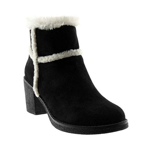 Angkorly - Mode schoenen Enkellaars Sneeuw Laarzen Vrouw Bont Hoog blok 7 CM Gevulde - Zwart AF801 T 38
