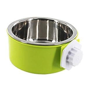 Cysincos Gamelle pour chien en acier inoxydable amovible à suspendre Nourriture Eau Pets Gamelle pour cage Grande Chat Chiot Oiseaux Boulon de bol de nourriture avec support