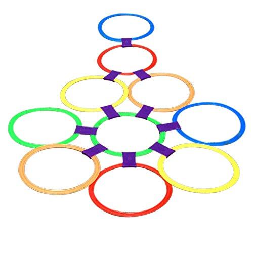 Grande Taille 10 Anneaux Et 10Ring Clips Twister Hopscotch Multi-couleur Jeu Actif