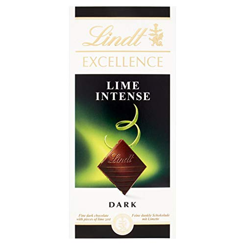 Lindt Excellence – Tableta de chocolate negro con lima, 100 g