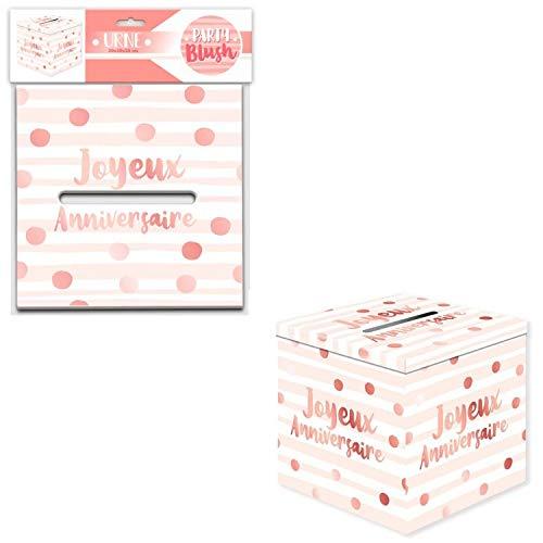 Les Colis Noirs LCN - Urne Decorative Joyeux Anniversaire Blanc/Rose 20x20cm - Décoration Fête - 633