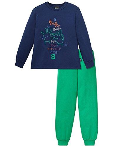 Schiesser Jungen Kn lang Zweiteiliger Schlafanzug, Blau (dunkelblau 803), 98