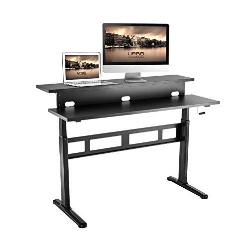 Urbo escritorio ergonómico para trabajar de pie con doble mesa de escritorio + manivela de mano para ajuste de altura y almohadillas pie ajustables nivelar (profundidad total: 69 cm, ancho: 140 cm)
